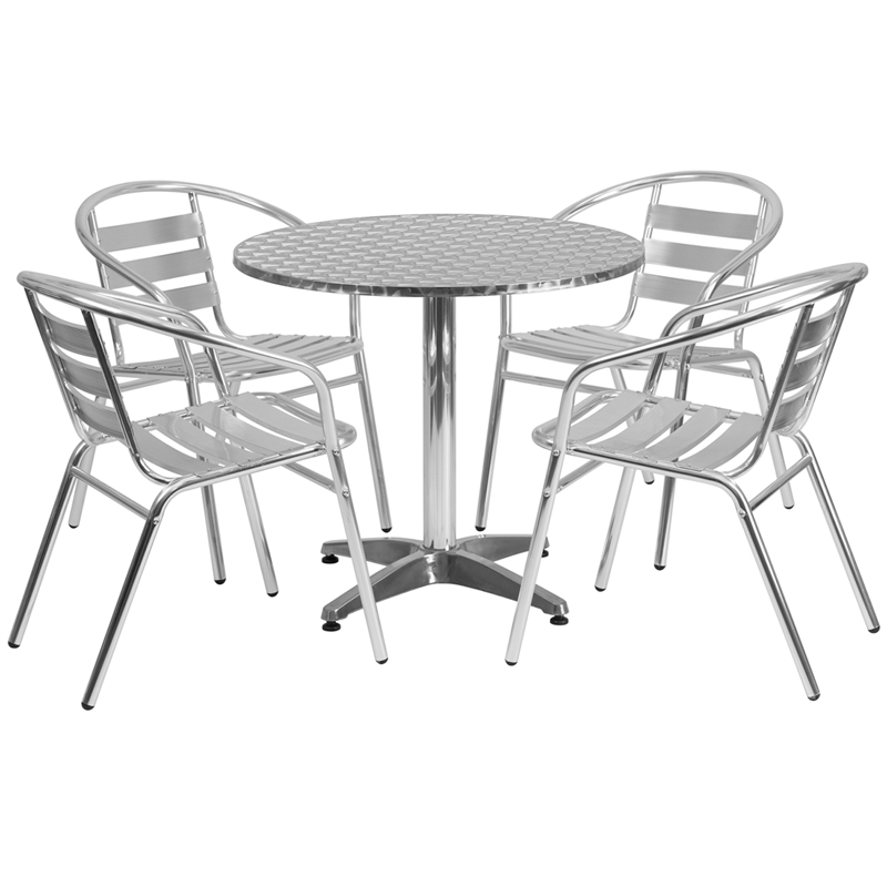 31 5 Round Aluminum Indoor Outdoor Table With 4 Slat