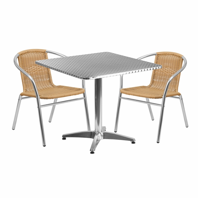 31.5'' Square Aluminum Indoor-Outdoor Table With 2 Beige Rattan Chairs