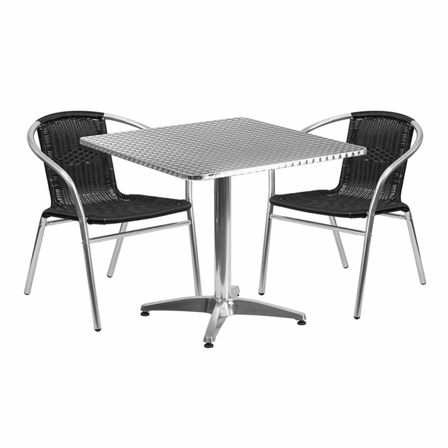 31.5'' Square Aluminum Indoor-Outdoor Table With 2 Black Rattan Chairs