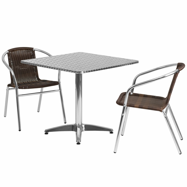 31.5'' Square Aluminum Indoor-Outdoor Table With 2 Dark Brown Rattan Chairs