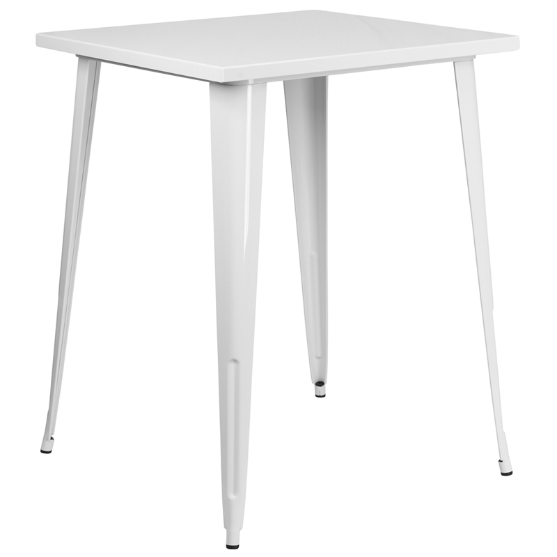 31 5 Square Bar Height White Metal Indoor Outdoor Table