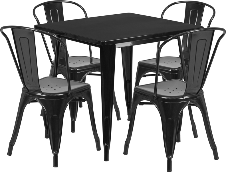 Square Garden Table And 4 Chairs: 31.5'' Square Black Metal Indoor-Outdoor Table Set With 4