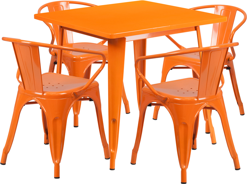 31 5 Square Orange Metal Indoor Outdoor Table Set With 4