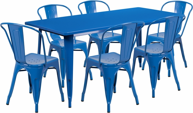 rectangular blue metal indoor outdoor table set w 6 stack chairs