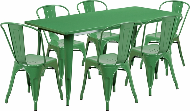 31.5'' X 63'' Rectangular Green Metal Indoor-Outdoor Table Set W/ 6 Stack Chairs