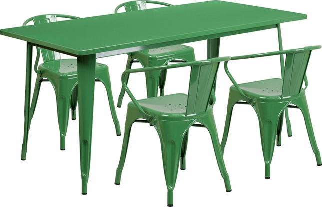 31.5'' X 63'' Rectangular Green Metal Indoor-Outdoor Table Set With 4 Arm Chairs
