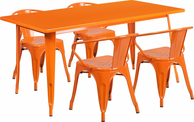 31.5'' X 63'' Rectangular Orange Metal Indoor-Outdoor Table Set W/ 4 Arm Chairs
