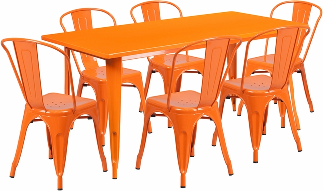 31.5'' X 63'' Rectangular Orange Metal Indoor-Outdoor Table Set W/ 6 Stack Chairs