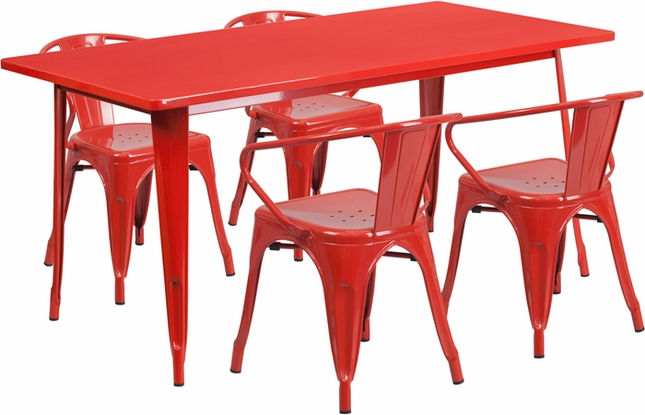 31.5'' X 63'' Rectangular Red Metal Indoor-Outdoor Table Set With 4 Arm Chairs