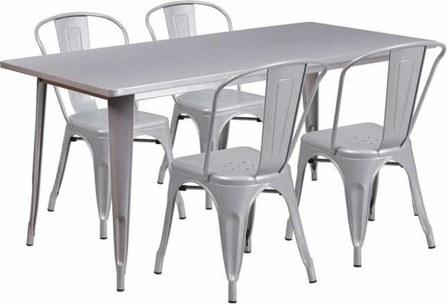 31.5'' X 63'' Rectangular Silver Metal Indoor-Outdoor Table Set W/ 4 Stack Chairs