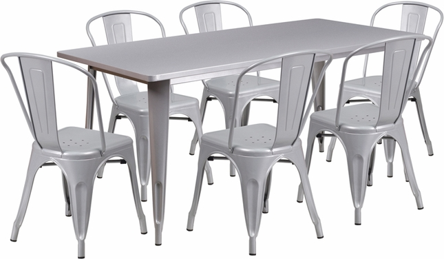 31.5'' X 63'' Rectangular Silver Metal Indoor-Outdoor Table Set W/ 6 Stack Chairs