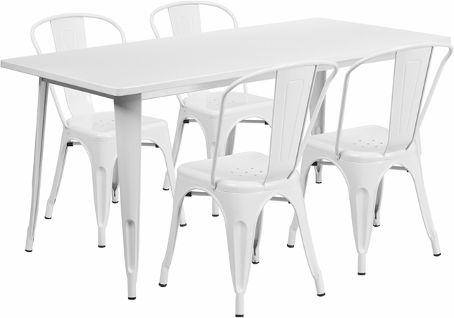 31.5'' X 63'' Rectangular White Metal Indoor-Outdoor Table Set W/ 4 Stack Chairs