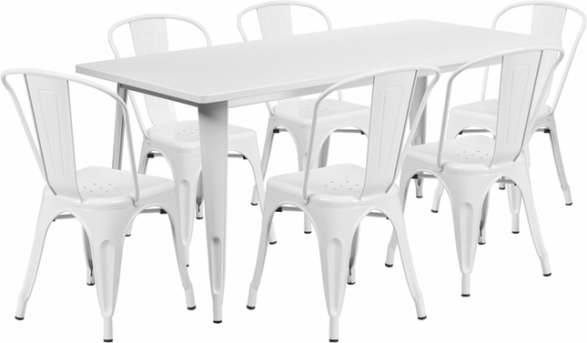 31.5'' X 63'' Rectangular White Metal Indoor-Outdoor Table Set W/ 6 Stack Chairs