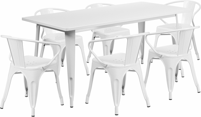 31.5'' X 63'' Rectangular White Metal Indoor-Outdoor Table Set With 6 Arm Chairs