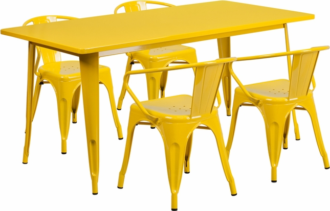 31.5'' X 63'' Rectangular Yellow Metal Indoor-Outdoor Table Set W/ 4 Arm Chairs