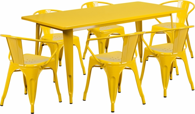 31.5'' X 63'' Rectangular Yellow Metal Indoor-Outdoor Table Set W/ 6 Arm Chairs