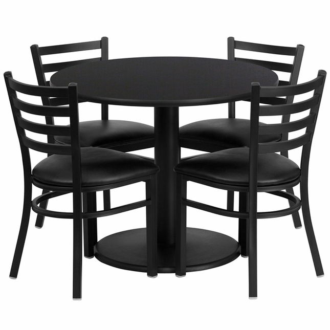 36'' Round Black Laminate Table Set W/ 4 Black Vinyl  Metal Chairs