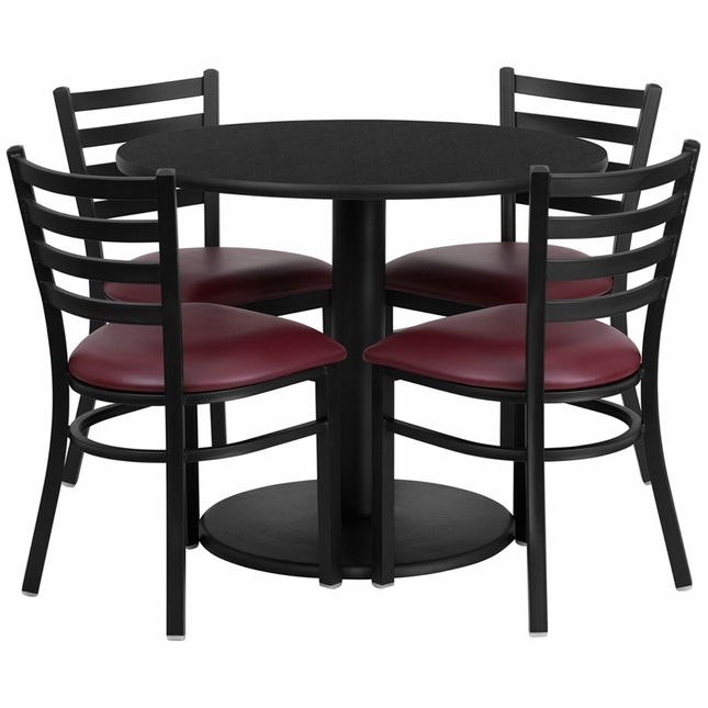 36'' Round Black Laminate Table Set W/ 4 Burgundy Vinyl  Metal Chairs