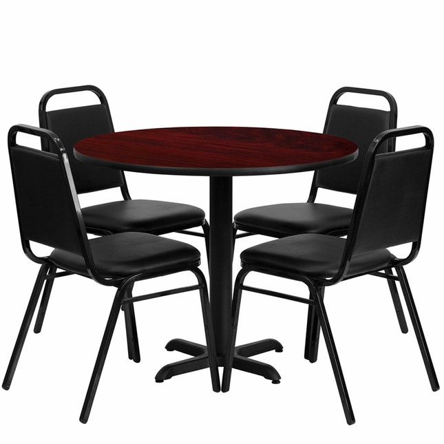 36'' Round Mahogany Laminate Table Set W/ 4 Black Trapezoidal Back Chairs