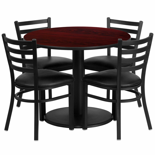 36'' Round Mahogany Laminate Table Set W/ 4 Black Vinyl  Metal Chairs