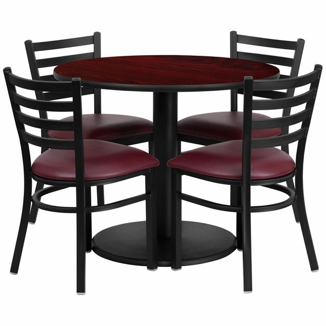 36'' Round Mahogany Laminate Table Set W/ 4 Burgundy Vinyl  Metal Chairs