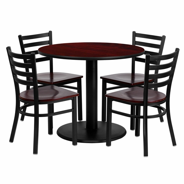 36'' Round Mahogany Laminate Table Set W/ 4 Mahogany Wood  Metal Chairs