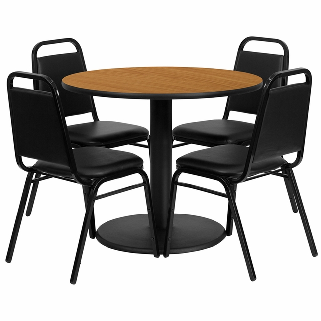 36'' Round Natural Laminate Table Set W/ 4 Black Trapezoidal Back Banquet Chairs