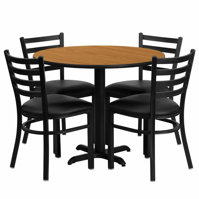 36'' Round Natural Laminate Table Set W/ 4 Black Vinyl  Metal Chairs