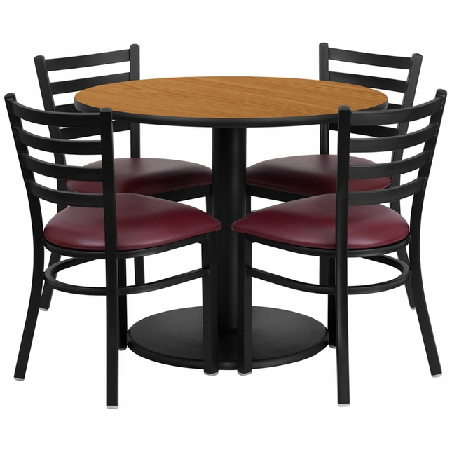 36'' Round Natural Laminate Table Set W/ 4 Burgundy Vinyl  Metal Chairs