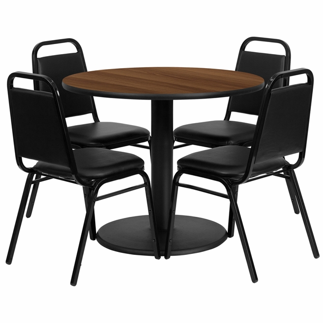 36'' Round Walnut Laminate Table Set W/ 4 Black Trapezoidal Back Banquet Chairs