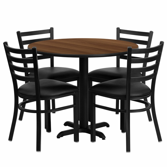 36'' Round Walnut Laminate Table Set W/ 4 Black Vinyl  Metal Chairs