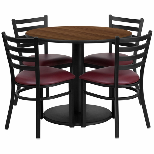 36'' Round Walnut Laminate Table Set W/ 4 Burgundy Vinyl  Metal Chairs