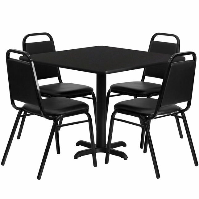 36'' Square Black Laminate Table Set W/ 4 Black Trapezoidal Back Banquet Chairs