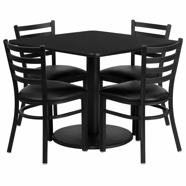 36'' Square Black Laminate Table Set W/ 4 Black Vinyl  Metal Chairs