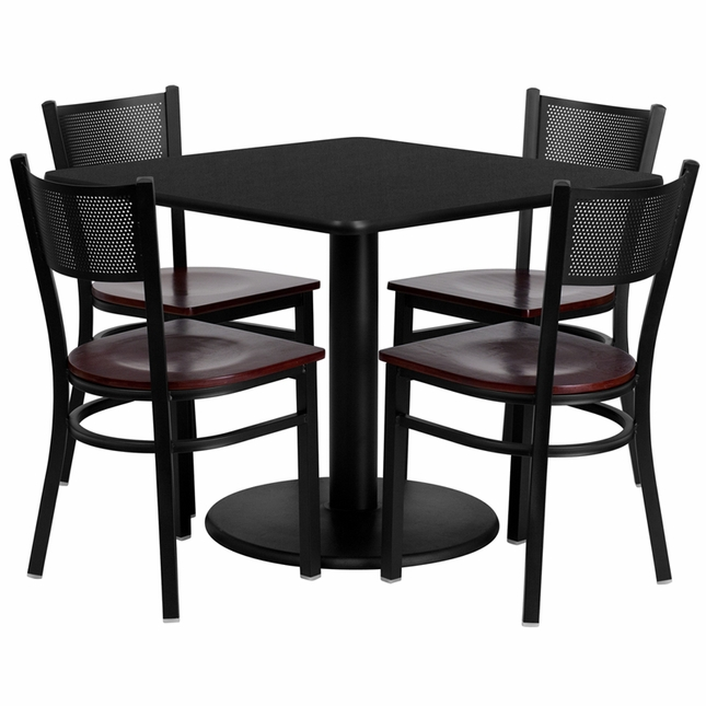 36'' Square Black Laminate Table Set W/ 4 Mahogany Wood  Metal Chairs