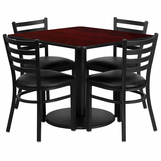 36'' Square Mahogany Laminate Table Set W/ 4 Black Vinyl  Metal Chairs