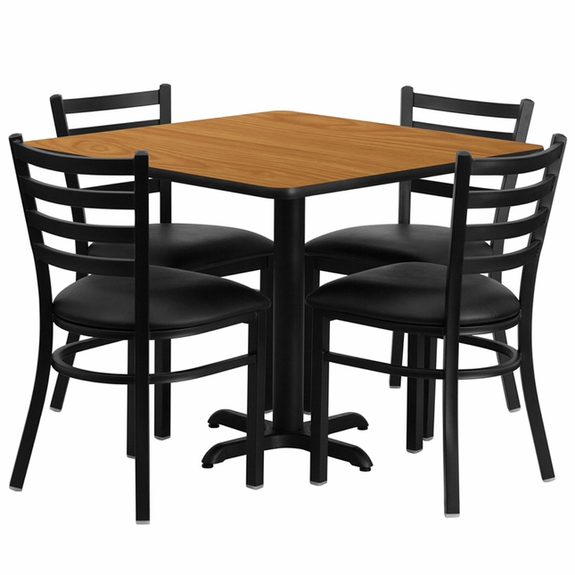 36'' Square Natural Laminate Table Set W/ 4 Black Vinyl  Metal Chairs