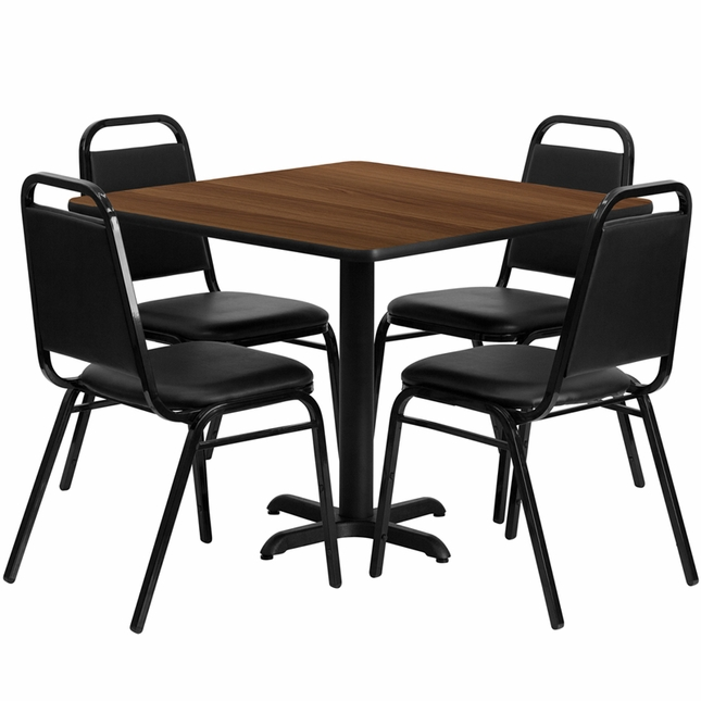 36'' Square Walnut Laminate Table Set W/ 4 Black Trapezoidal Back Banquet Chairs