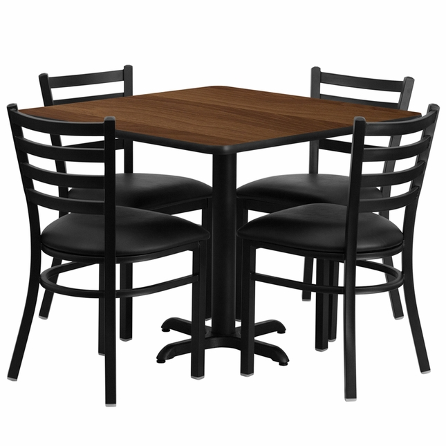 36'' Square Walnut Laminate Table Set W/ 4 Black Vinyl  Metal Chairs