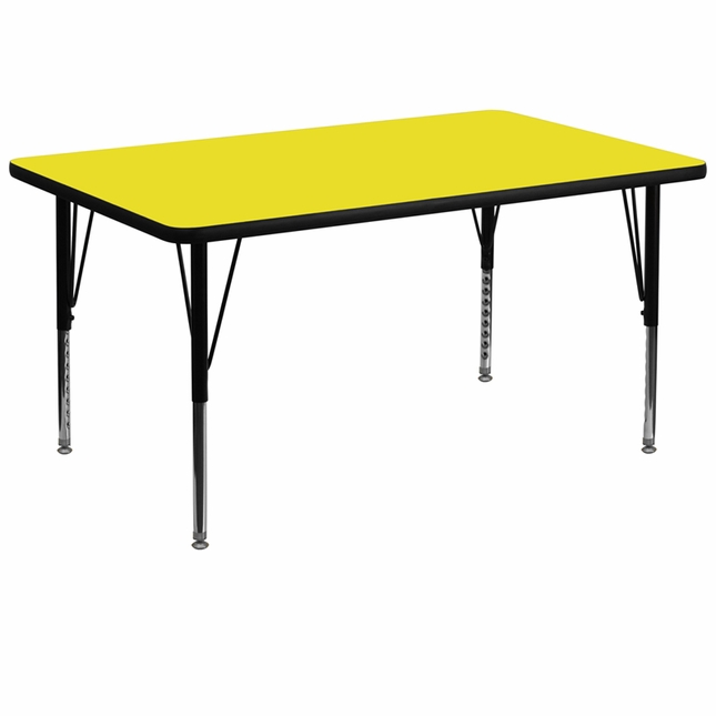 "36""Wx72""L Rectangular Activity Table W/ Yellow Laminate Top & Adjustable Legs"