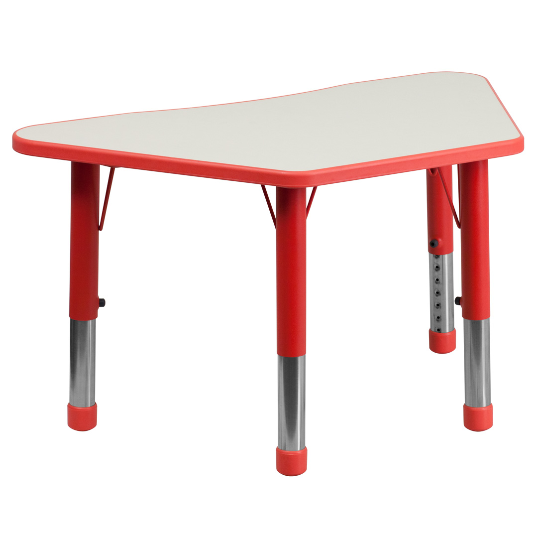 38 inch red and grey plastic trapezoid school activity table adjustable legs yu ycy 091 trap tbl - Table with telescoping legs ...