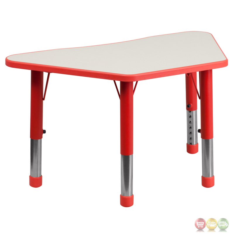 38 inch red and grey plastic trapezoid school activity for Trapezoid table