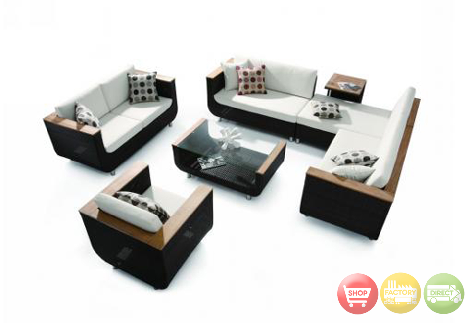 4 Piece Patio Set Sectional 2 Seater Armchair Coffee Table