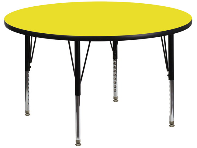 42 Round Activity Table W Yellow Laminate Top