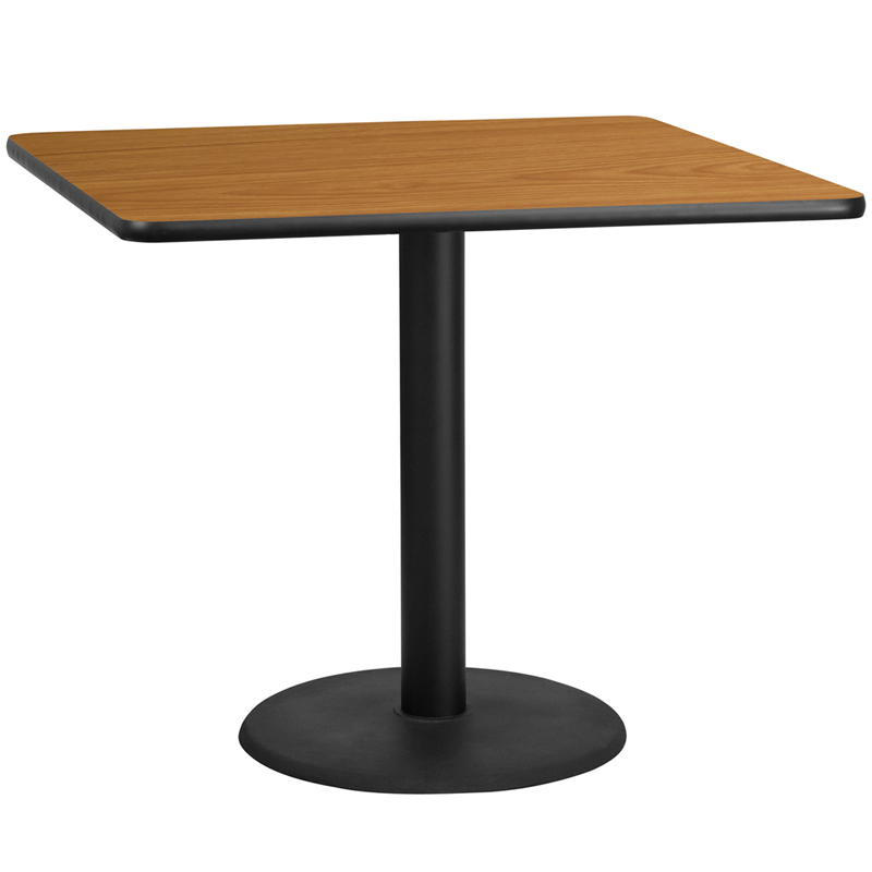 42'' square natural laminate table top with 24'' round