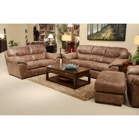 4453 Grant Stilt Brown Sofa And Loveseat In Bonded Leather With Nu Buck Feel