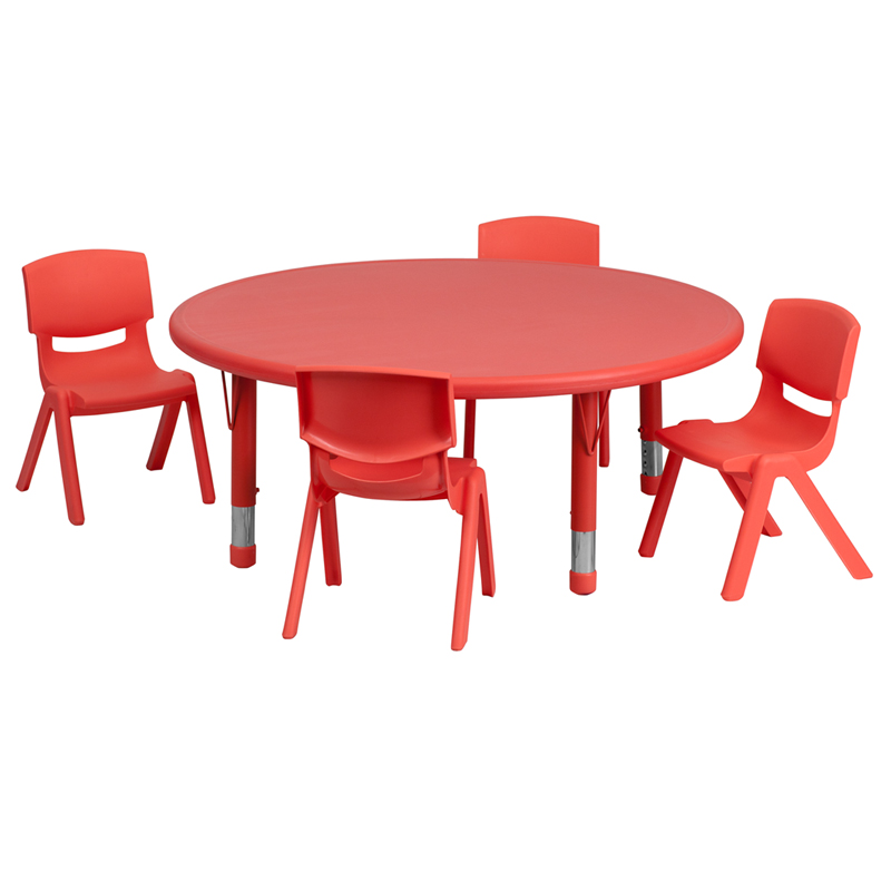 45 Inch Round Adjustable Red Plastic School Activity Table