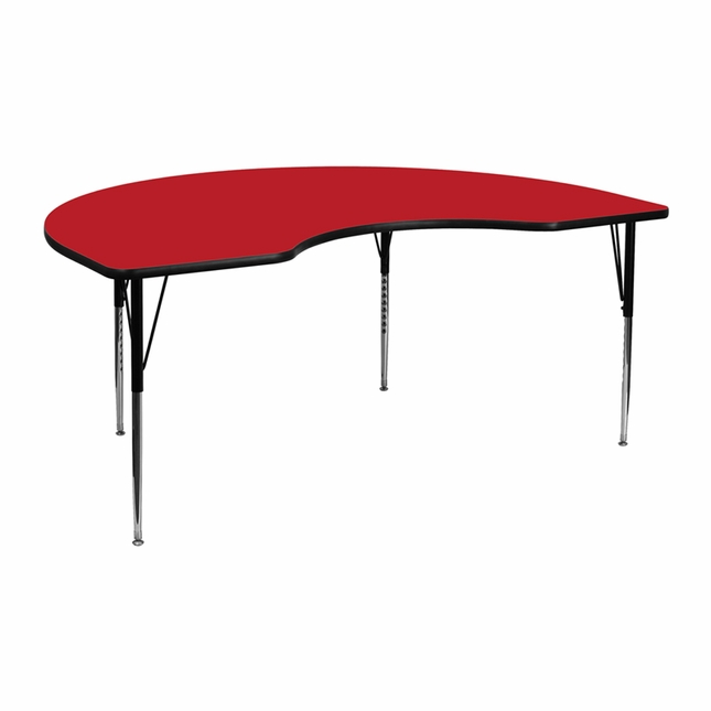 "48""Wx72""L Kidney Activity Table W/ 1.25'' Thick Red Laminate Top"
