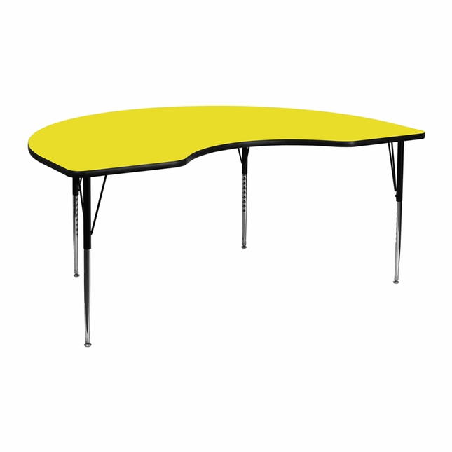 "48""Wx72""L Kidney Activity Table W/ 1.25'' Thick Yellow Laminate Top"