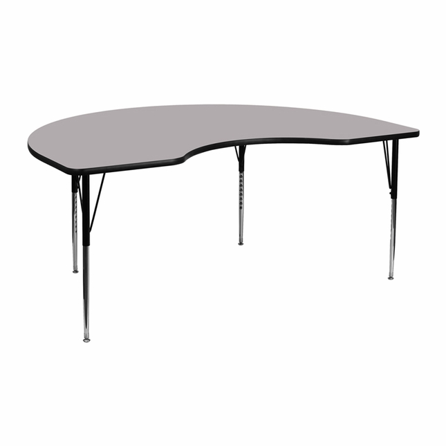 "48""Wx72""L Kidney Activity Table W/ Grey Laminate Top & Adjustable Legs"